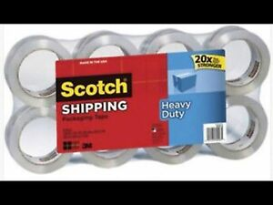Scotch Heavy Duty Clear Shipping Tape 8 Rolls 1 88 X 54 6yd Holiday Packaging