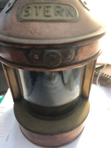 Vintage Stern Tung Woo Copper Brass Ship Lantern Nautical
