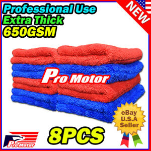 6pcs Red Microfiber Cleaning Cloth No Scratch Rag Car Polishing Detailing Towel