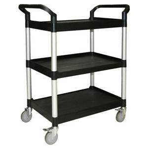Commercial 3 Tier Bus Cart 34 Black With Casters