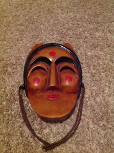 Japanese Wood Carving Person Mask Noh Mask Kyogen Ornaments Display