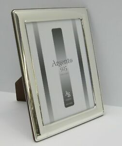 Fine Italian 925 Sterling Silver Handmade Glossy Sleek 7 X 9 Picture Frame
