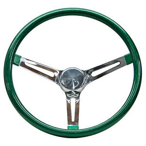 Mooneyes Green Metalflake Steering Wheel 15 With Slots In Spokes Rat Fink Rod