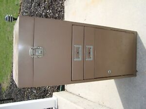 Vintage Metal Industrial 2 Drawer Filing Storage Box cabinet Locks
