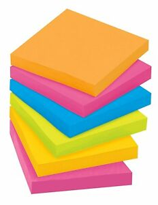 Post it Super Sticky Notes 3 In X 3 In Assorted Bright Colors 90 Sheets pad
