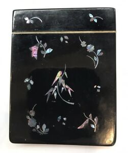 Superb Antique Victorian Lacquered Inlaid Mop Card Case