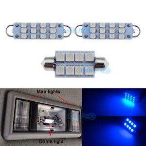 2pcs Map 1pcs Dome Blue Led Lights For 1995 1998 Chevy Silverado Gmc Sierra