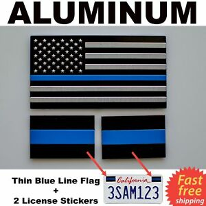 Aluminum 1x Thin Blue Line Flag 2x Police Line License Stickers Bundle Pack