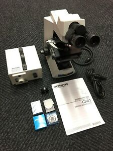 Olympus Cx41rf Microscope W Schott Ace 1 Fiber Optic Light Source Excellent