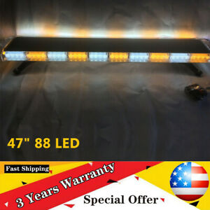 47 88led Strobe Light Bar Amber White Emergency Beacon Warn Tow Aluminum pc Us