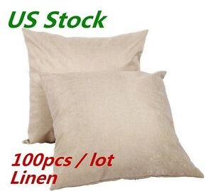 Usa 100pcs Linen Heat Press Printing Sublimation Blank Pillow Case Cushion Cover