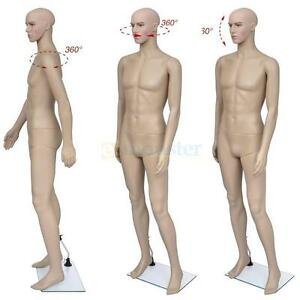 Realistic Full Body Male Mannequin Display Clothing Head Turns Dress Form Wbase