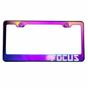 Neo Neon Chrome License Plate Frame Focus Laser Etched Metal Screw Cap