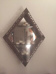 Antique Mid Century Shadow Box Wall Mirror