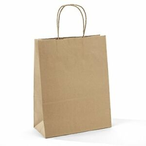 Halulu 10 X 5 13 Brown Kraft Paper Bags Gift With Handles Shopping Durable