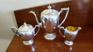 Reed Barton Sterling Coffee Or Tea Set 3pc Gilt Wash Creamer Ca 1950 S