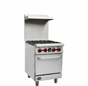Commercial 4 Burner Gas Range 24 W oven