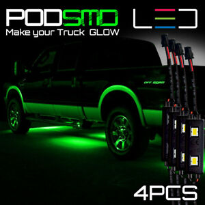 Rock Led Lights Underbody Glow Under Car Green Neon Accent For Chevy Silverado