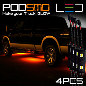 Led Rock Lights Underbody Glow Amber Accent Under Car Neon For Chevy Silverado