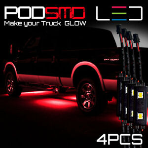 Led Underbody Rock Lights Kit Red Accent Under Car Neon Glow For Ford F150