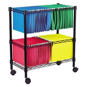 Alera Two Tier Rolling File Cart Black