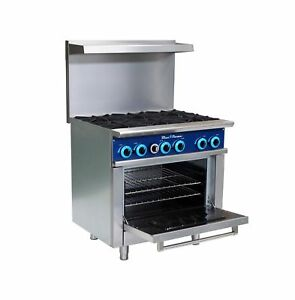 Blue Flame Commercial Kitchen 6 Burner Restaurant Range With Oven