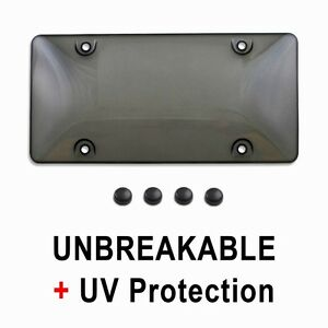 Tinted License Plate Tag Frame Cover Bubble Shield Protector For Auto Car Truck