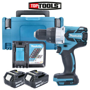Makita Dhp481z 18v Combi Drill Body With 2 X 5ah Batteries charger Case