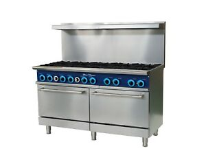 Blue Flame Commercial Kitchen 10 Burner Restaurant Range With Ovens