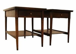 Pair Of Mid Century Danish Modern Walnut Tapered Leg End Side Tables 9