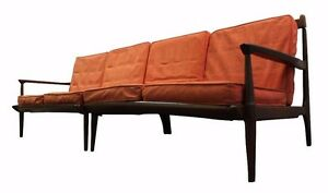 Mid Century Danish Modern Walnut Two Piece Sectional Sofa On Spindle Legs