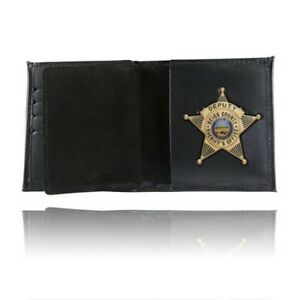 Boston Leather 175 s Black Model 175 s Badge Wallet Cutout Generic Oval