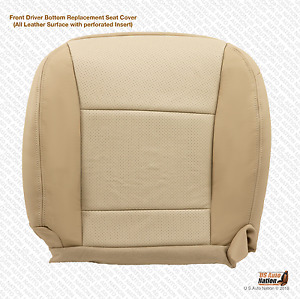 2010 Ford Explorer Driver Side Bottom Seat Cover Perforated Leather Two Tone Tan