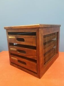 Unusual Vintage Wood File 3 Drawer Box With Metal Side Bars Neat Filing Box