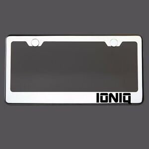 Polish Mirror License Plate Frame Ioniq Laser Etched Metal Screw Cap