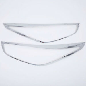 Chrome Front Head Light Lamp Cover Trim 2 For Hyundai Verna Accent Solaris 2018