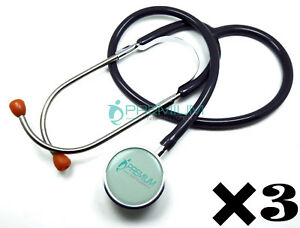 3 Pcs Clinical Grade Dual head Stethoscope Lightweight Binaural Spring gray