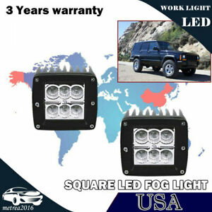 For Jeep Wrangler Cherokee Xj Clear Led Fog Lights Offroad Pods Cube Lamps 3