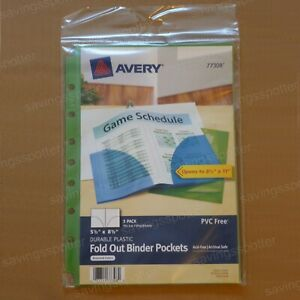 Avery Binder Pockets 5 5 X 8 5 Fold Out Durable Plastic 7 hole Assorted 3 Pack