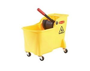 Rubbermaid Professional Plus Commercial Wringer Mop Bucket 28 Qt fg728100yel