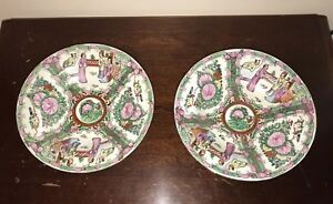 Chinese Export Canton Famille Rose Medallion Shallow Bowls 8 Pair