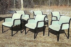 Vintage Set Of 6 Mid Century Modern Bentwood Laminated Upholstered Armchairs