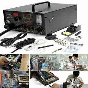 New Aoyue 968a 4 In 1 Digital Soldering Iron Hot Air Station Complete Kit Mx