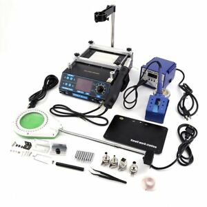 Soldering Rework Station Complete Set Hot Air Gun Iron Holder Tips Nozzles Us Mx