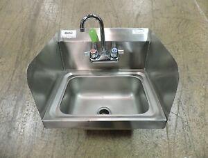Bk Resources Bkhs w 1410 ss Commercial Stainless Steel Hand Sink W Side Splash
