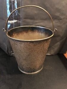 Vintage Silverplate Ice Bucket W Etched Design Handle 5 1 8 Tall Cute One