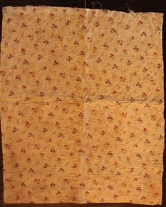 Antique French18thc Toile De Jouy Block Printed Cotton Fabric Dolls L35 Xw28