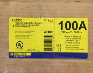 New Square D 3p 100a 100 Amp 240v Non Fusible Disconnect Switch Du323
