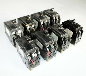 Lot 8 Used Square D Type Qo 2 Pole Qo220 20a Ac Hacr Type Circuit Breakers I11