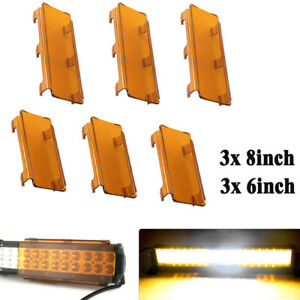 42inch Snap On Amber Lens Cover 3x 8 3x 6 Set For Led Work Light Bar Offroad
